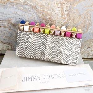 Jimmy Choo Candy Python Cayla Studded Clutch